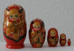 Matrjoschka, Matrioschka, Matroschka.Babuschka! 5 Holzpuppen.SCHÖNE GESCHENKIDEE