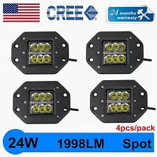 4X 4inch 24W Square CREE LED Pods Spot Work Light Flush Mount Offroad Truck Jeep