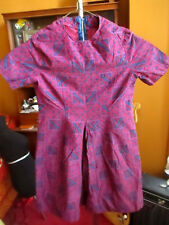 sz 8 true Vtg 70s Girls Rusty hand Made Red/Purple Medallion Print Hippy Dress
