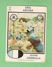 1975 CRONULLA SHARKS  SCANLENS RUGBY LEAGUE CARD  #131. ERIC ARCHER
