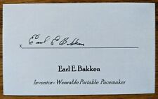 Earl Bakken Inventor Wearable Portable Pacemaker Signed Autographed Index Card