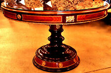 """French Louis Style Round GlassTop Entry,Serving,Small Dining Table, Inlaid, 46"""""""