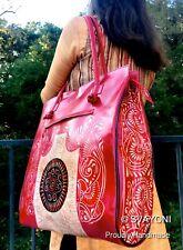 Handmade INDIA Painted Paisley SHANTINIKETAN GENUINE LEATHER Handbag GoatSkin