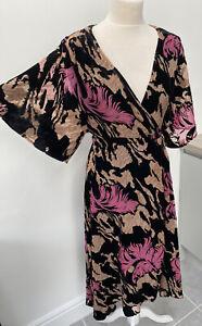 Zara Black & Purple Devore Velvet Wrap Kimono Midi Dress Floral Size Small