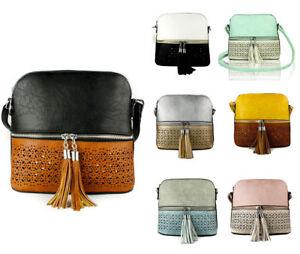 UK New Ladies Small Shoulder Messenger/Body Cross Handbag Tassel Front bag purse