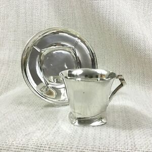 Sue et Mare Christofle Silver Plated Teacup and Saucer French Art Deco Cubist