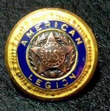"Vintage 5/8"" ""U.S."" ""AMERICAN LEGION"" Brass Blue Enameled Pat Dec 6, 1919 Button"