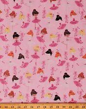 Cotton Ballerinas Ballet Girls Dance Shoes Glitter Pink Fabric Print BTY D661.06
