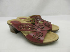 Kalso Earth Shoes Balsam Burgungy Leather Slide Sandals Women's Size 6