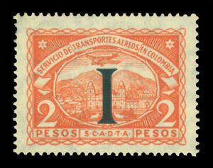 """COLOMBIA 1923 AIRMAIL - SCADTA - ITALY """"I"""" handstamp 2p org Sc# CLIT35 mint MLH"""