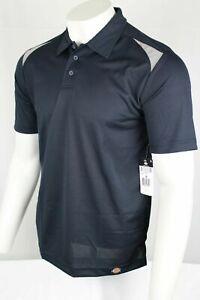 Dickies Men's LS606 Industrial Performance Polo Size Medium Navy Blue Gray