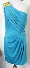 MAX and CLEO 4 Dress Turquoise Blue 1-Shoulder Draped Evening Cocktail NWT
