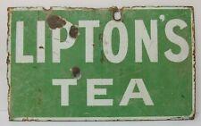 VINTAGE ENAMEL SIGN  ' LIPTONS TEA '  DOUBLE SIDED C.1920