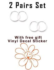 USA Seller 2pair Set Super 10mm Hoop Earrings Sterling Silver 925 Orange Flower