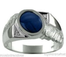 Sapphire 14K White Gold Diamond Ring Blue Star