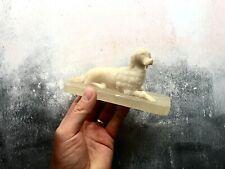 Antique Carved Dog Paperweight Ornament - Alabaster - Poodle
