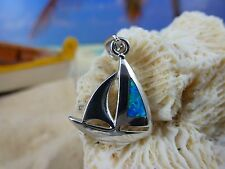 BEAUTIFUL HIGH POLISHED STERLING SILVER BLUE FIRE OPAL SAILBOAT PENDANT