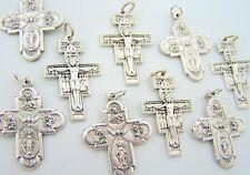 San Damiano Cross & Petite Virgin Mary Miraculous Medal Pendant Crucifix LOT 10
