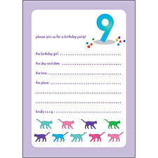 10 Childrens Birthday Party Invitations 9 Years Old Girl