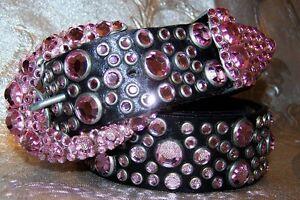 Vintage Michael Morrison MX Belt Made wtih Swarovski Light Rose Crystal X Small