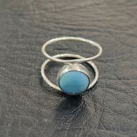 Larimar Ring Solid 925 Sterling Silver Band Ring Meditation Ring Size RR36