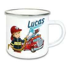 Emaille Tasse mit Name Feuerwehr Camping Becher Kinder Geschenk Kindergarten
