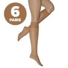 F&F 6 Pack Ladies Womens Natural Knee Highs Pop Socks Tights 15 Denier One Size