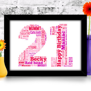 Personalised 16th 18th 21st 30th 40th 50th 60th Birthday gift Word Art Print A4