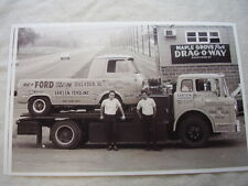 1960 'S FORD ECONOLINE PICKUP DRAG RACER AN CAR CARRIER 11 X 17  PHOTO  PICTURE