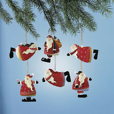 6 WHIMSY FESTIVE SANTA CLAUSE Rustic Painted TIN Christmas Ornaments