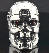 Sterling Silver Harley Biker Terminator Salvation Skull T800 Gothic Mens Ring