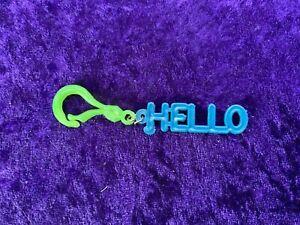 Green & Blue Plastic Keyfob / Handbag charm - 'HELLO' - 1990s