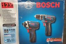 BOSCH CLPK22-120 12V LITHIUM ION DRILL/DRIVER IMPACT COMBO KIT NEW