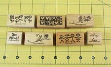 Stampin Up Mixed Lot 7 Stamps All My Love Flowers Stick Figure Kids So Nice