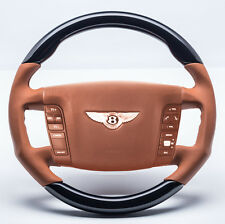 Bentley Continental GT GTC SPORT volant Pianolack Noir OEM cuir Saddle NEUF