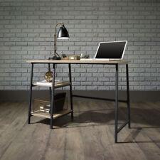 Industrial Style Retro Desk Small Computer Office Desk Black Metal Frame Oak