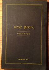 "Vintage Masonic Book, ""Statutes of the Great Priory of England and Wales"" 1948"