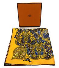 """HERMES Paris """"La Charmante aux Animaux"""" Yellow Silk Pocket Square 16.5"""" X 16.5"""""""