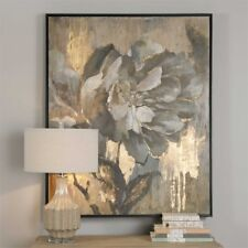 """Dazzling Floral Wall Art Hand Painted Canvas Framed Botanical Flower Large 51""""H"""