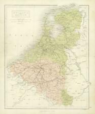 1860 Antique Map of HOLLAND and BELGIUM by Hughes/Bartholomew Colour  (7)
