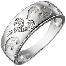 Damen Ring 585 Gold Weißgold Teilmattiert 7 diamanten brillanten 0 04ct.