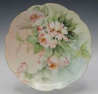 LIMOGES E. MILER PINK ROSES HAND PAINTED SCALLOPED PLATE ANTIQUE SIGNED 8.1/4""