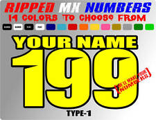 CUSTOM 2 COLOR NAME MOTORCYCLE NUMBER PLATE DECALS MOTOCROSS STICKERS RACING ATV