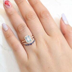 3Ct Emerald Cut Aquamarine Bridal Engagement Wedding Ring 18K Rose Gold Finish