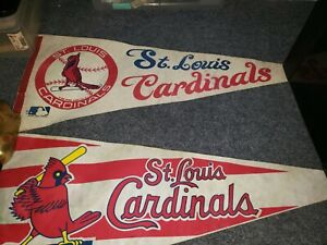 (2) St. Louis Cardinals Vintage Circa 1970s Team Logo Baseball Pennant