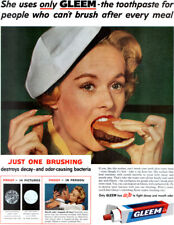 Actress Tippi Hedren Eating Hamburger GLEEM TOOTHPASTE 1958 Magazine Print Ad