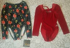 Nwt Lot of 2 Gk Elite Competition Long sleeve Dance leotard Rhinestones As