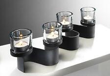 Metall-Kerzenhalter geschwungen mit 4 Glas-Windlichtern Tischdeko schwarz 42373