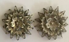 3-D ORNATE VINTAGE ANTIQUE SILVER FILIGREE METAL FLOWER 2 BROOCHES  PINS B7