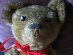 Articulated Bear with Excelsior Stuffing Button Eyes Vintage